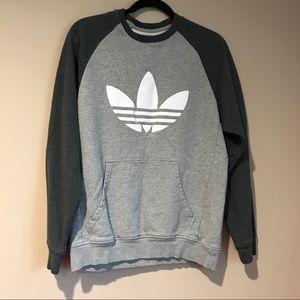 Adidas Trefoil Crew Neck Sweatshirt Gray Pocket